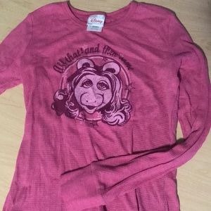 Disney Miss Piggy Thermal Long Sleeve Shirt Muppet